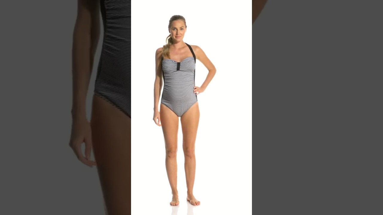 b59e5f0f9c3f06 Pez D'or Maternity Palm Springs Lurex Striped Halter One Piece Swimsuit |  SwimOutlet.com