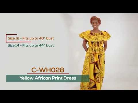 Yellow African Print Dress from Africa Imports