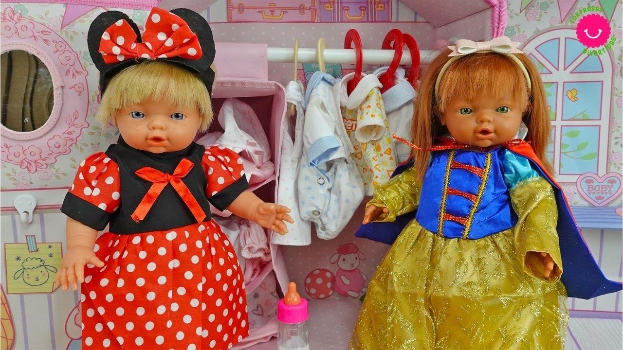 Neala y Petra se disfrazan de Minnie Mouse y Blancanieves Ropa para Muñecas Nadurines