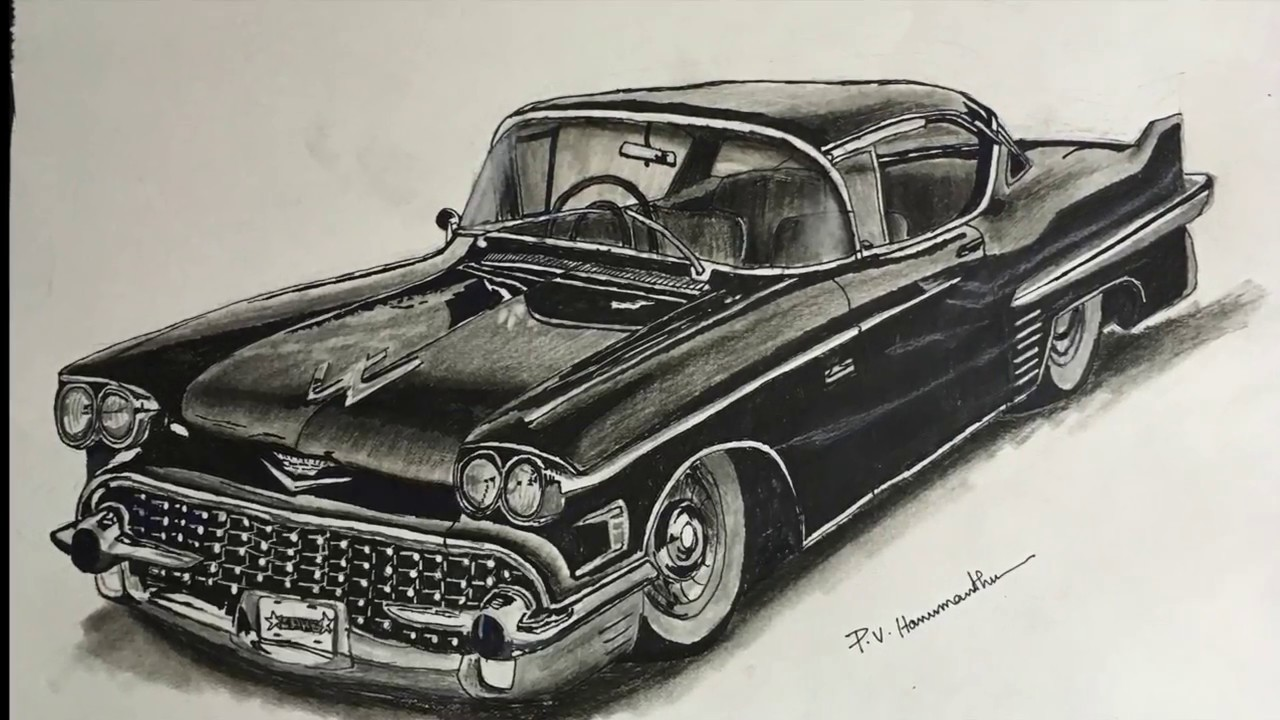 Vintage Car Pencil Drawing How To Draw A Car With Pencil P V Hanumanthu Art Youtube