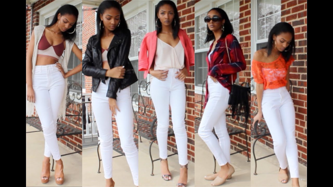 LOOK BOOK: WHITE HIGH WAISTED JEANS - YouTube