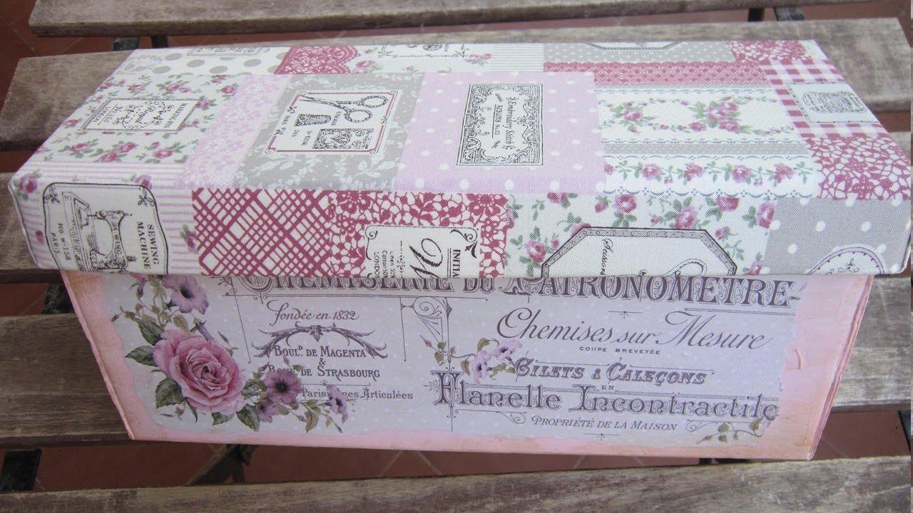 Reciclar Una Caja De Cartón Con Decoupage Relieve Y Tela
