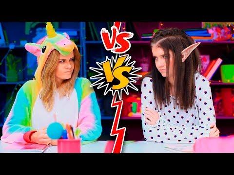 10 DIY EINHORN SCHULBEDARF vs ELFEN SCHULBEDARF! CHALLENGE!