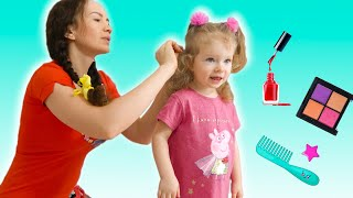Dad  in beauty salon for girls. Cosmetic for girls with Sash and Dad. Story for kids by Sasha