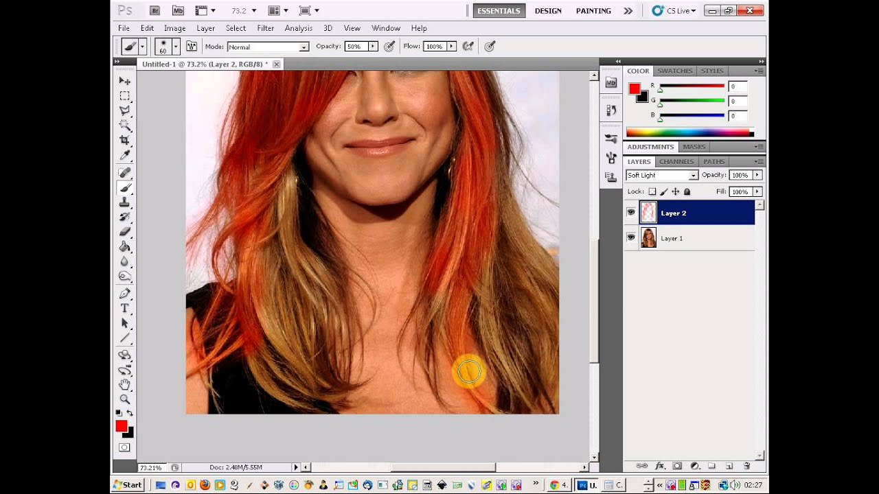 Photoshop Hair Color Change Jennifer Aniston Youtube
