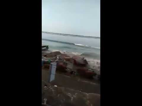 The First Wave Of Tsunami In Sulawesi, Indonesia