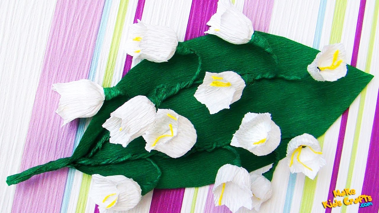 How To Make Crepe Paper Lilies Of The Valley Diy Youtube
