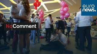 A creative kissing competition was held ahead of Valentine's Day in Minsk