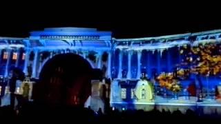 Лазерное шоу Аэрофлот  на Дворцовой площади,Спб-27.12.15