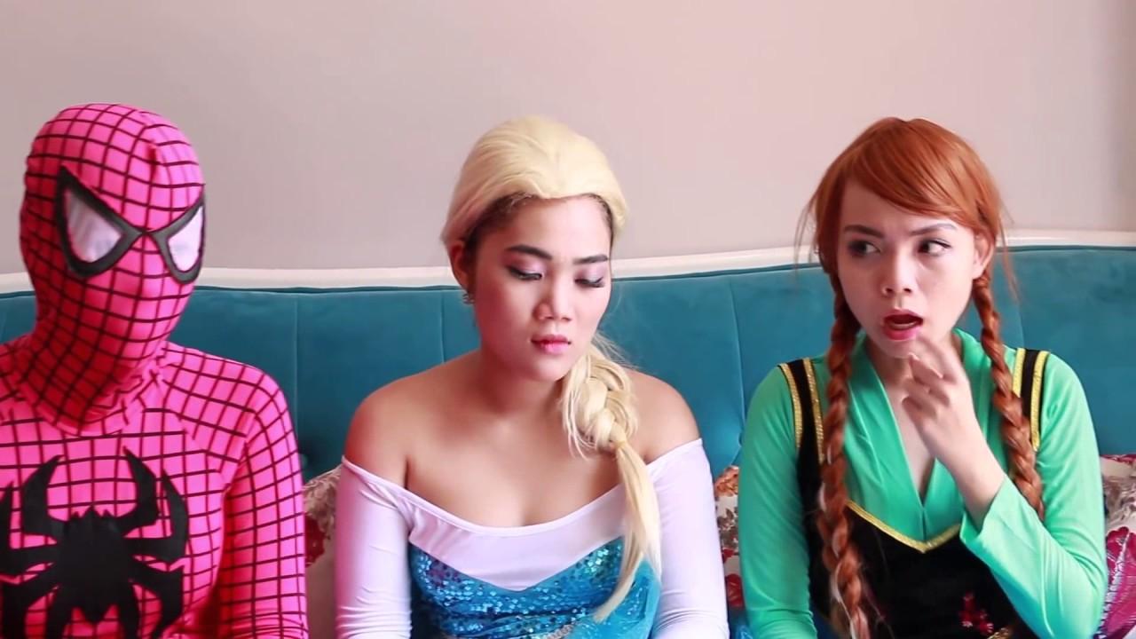 Elsa Vs Maleficent Real Life Disney Princess Movie Chocolate Fountain Candy 10 Surprise Eggs