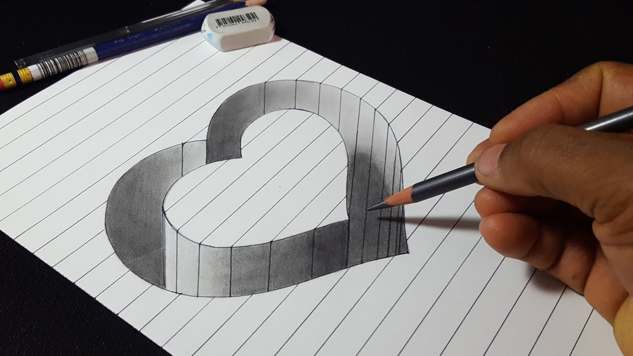 How to Draw 3D Hole Heart Shape - Easy Trick Drawing - YouTube