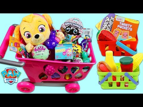 Thumbnail: PAW PATROL Pup Baby Skye Goes Shopping for Groceries and Surprise Toys in Her Shopping Cart!
