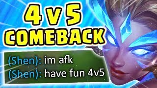 HE RAGE QUIT 5 MINS IN.. FULL AP NIDALEE DOES SO MUCH DMG!! 4v5 FIESTA IN CHALLENGER