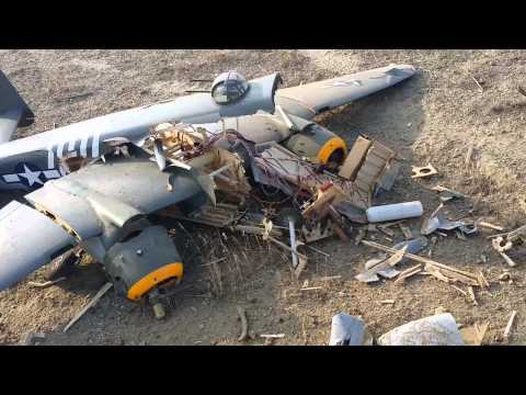 Remote Control B-25 Crash with followup done by my wife Bonnie....jeesh.
