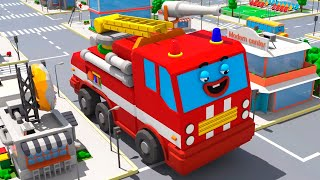 Red Fire Truck in the City w AMBULANCE! 3D Animation for Children Cars Team Cartoons