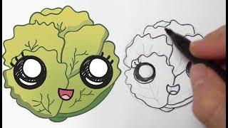 Cómo dibujar una Lechuga Kawaii