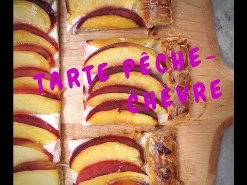 tarte-carrée-pêche-et-chèvre-frais,-très-facile