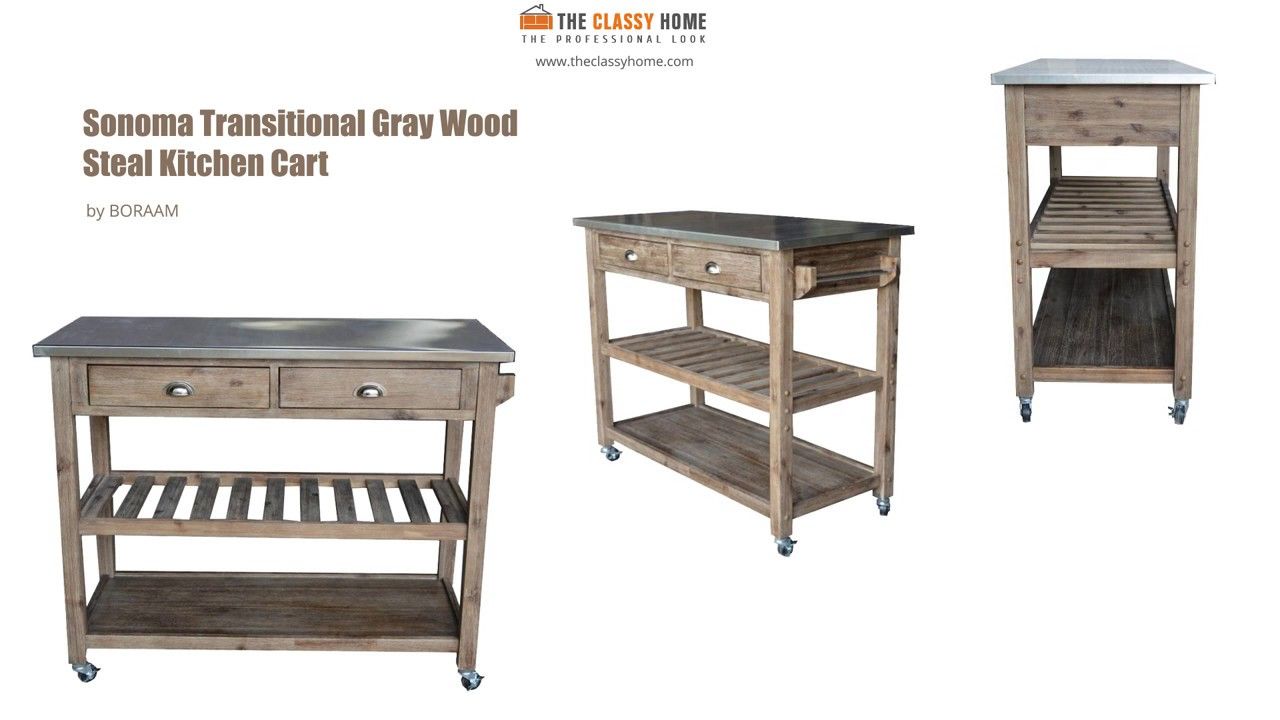 wire kitchen cart how to build a cabinet boraam sonoma in brush gray shade youtube