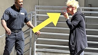 STEALING HANDCUFFS OFF SECURITY GUARD - DO NOT TRY THIS!!!