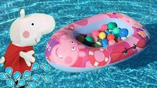 Peppa pig fiesta y juegos en la piscina con George y los amigos.Nuevo video de juguetes en español