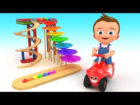Learn Colors for Children with Baby Fun Play Wooden Toy Small World Balls Slider 3D Kids Educational
