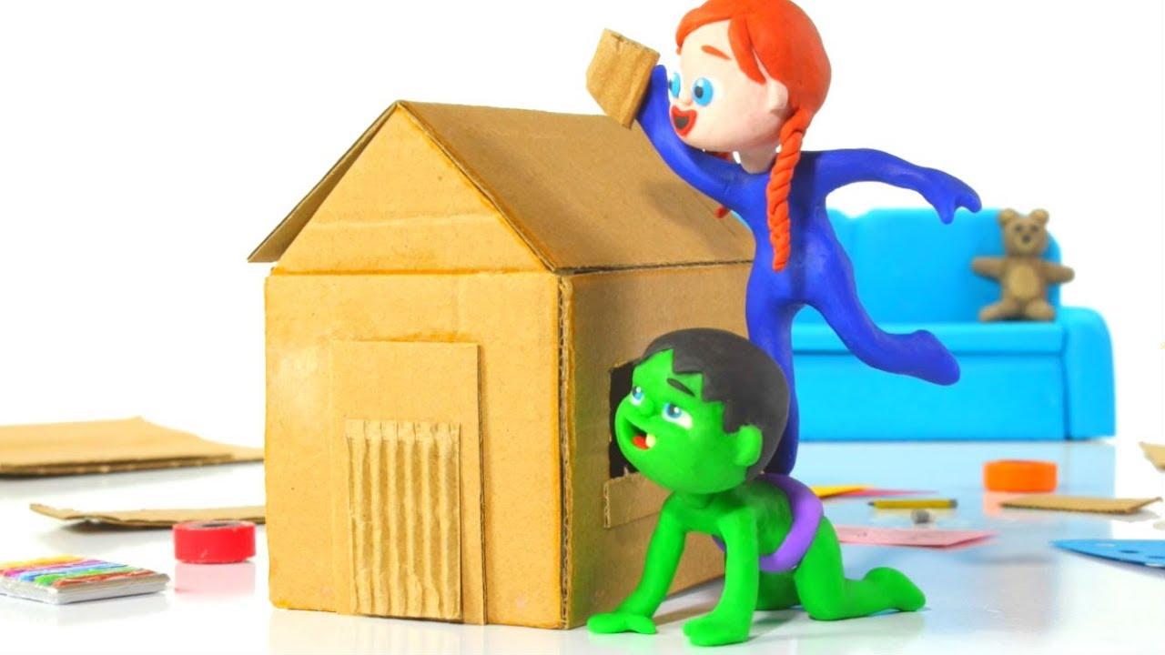 SUPERHERO BABIES MAKE A TOY HOUSE ❤ Spiderman, Hulk & Frozen Play Doh Cartoons For Kids