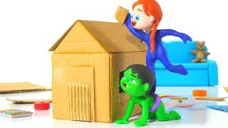 SUPERHERO BABIES MAKE A TOY HOUSE ❤ Spiderman, Hulk & Frozen Play Doh Cartoons For Kids