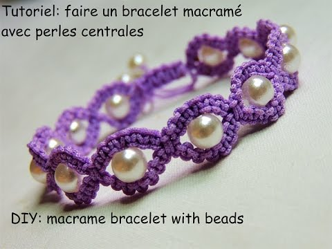 Tutoriel bracelet macramé rond avec perles centrales (DIY macramé bracelet  with beads)