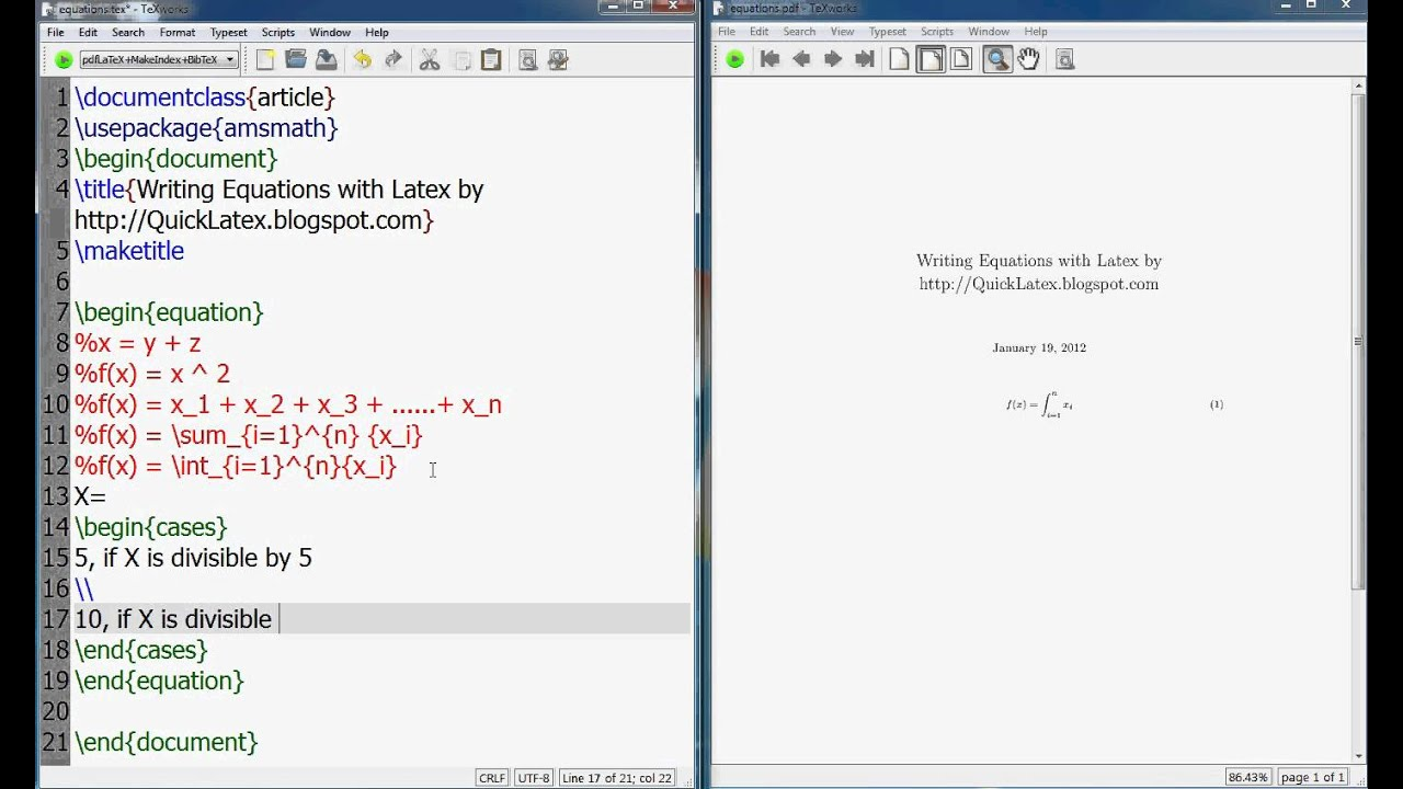 Latex Tutorial How To Write Mathematics Equations In Latex Youtube