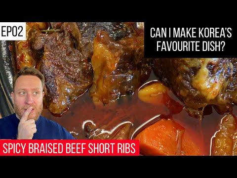 Ep02 SPICY KOREAN BRAISED BEEF SHORT RIBS recipe   How to make GALBI JJIM    FOOD BUSKER