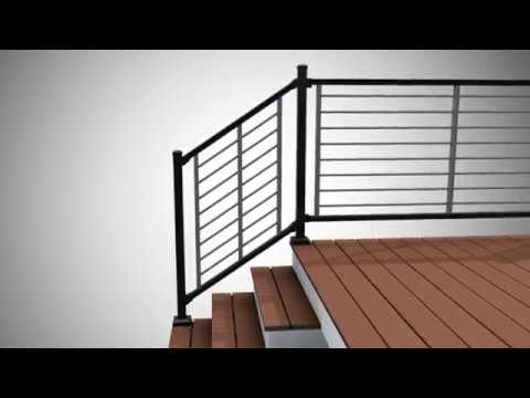 Installing Trex Signature Rod Rail As A Stair Railing Trex | Trex Transcend Stair Railing | Fascia | Lantern | Curved | Backyard | Premade Prefab Deck