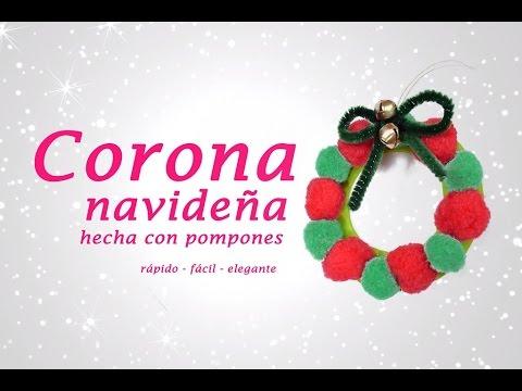 Corona navide a con pompones manualidades navide as - Manualidades con pompones ...