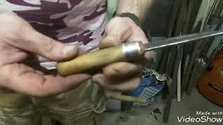 тэст ножа , откованого из гаечного ключа на 17 , купленного за 57р
