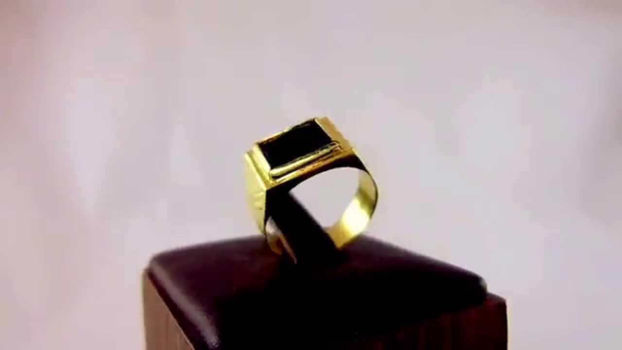 Anel De Ouro Amarelo Masculino Com 3g De Ouro E Pedra 244 Nix