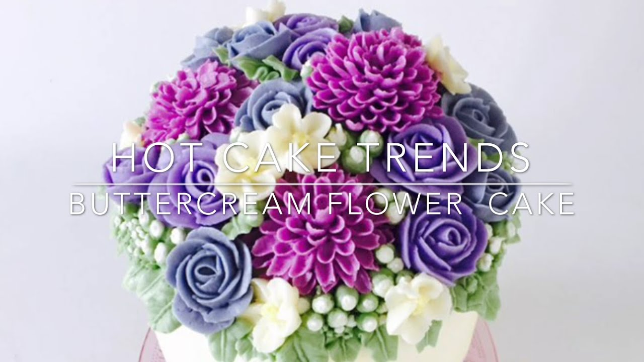 cake trends 2016 buttercream dahlia and rose flower cake how