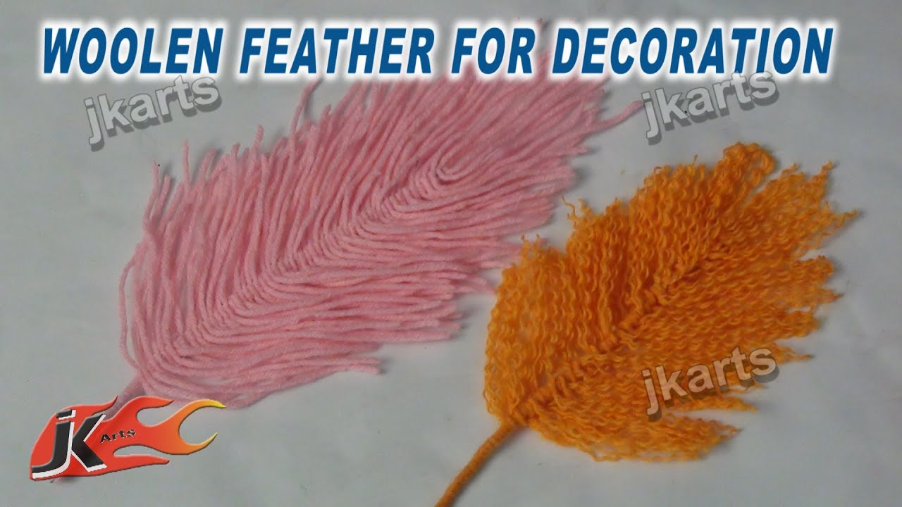 Diy woolen feather for decoration jk arts 246 youtube for Craft with woolen thread