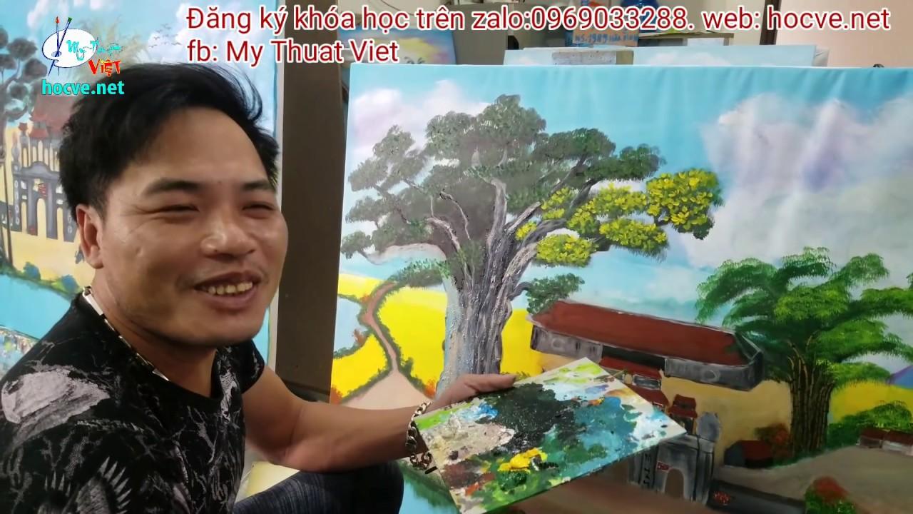 Nhật ký ngày thứ 7, khóa k6, bài tranh đồng quê, khóa học vẽ tranh tường tại Hà Nội.