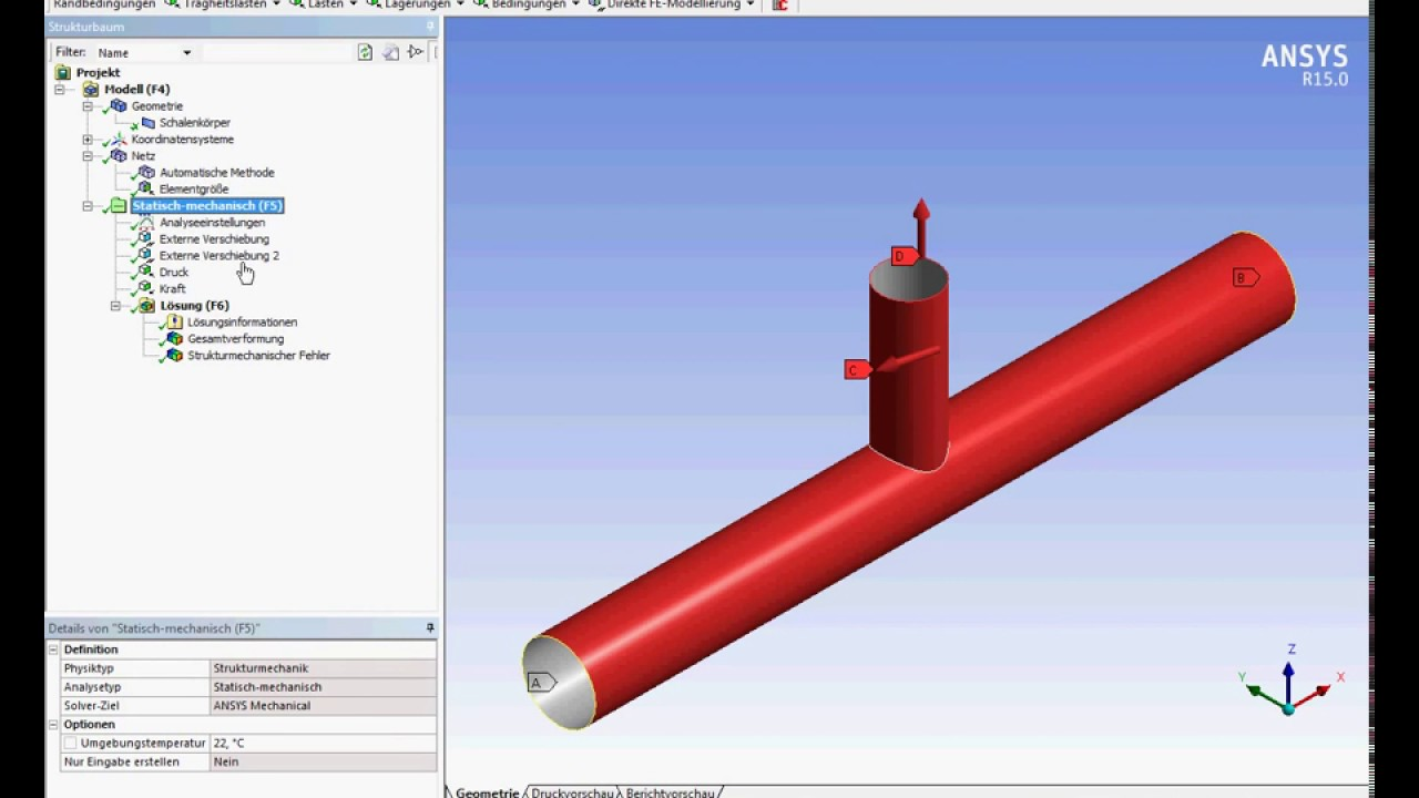Ansys Workbench static structural submodelling of a welded pipe ...