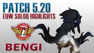 skt t1 bengi kindred jungle euw soloq highlights