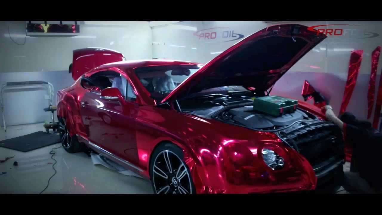 Car Wrap Dubai Bentley In Red Chrome Matt Done By