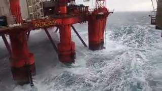 Watch as 50ft waves hit North Sea oil platform thumbnail