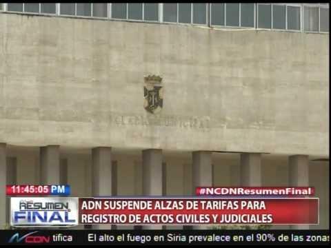 ADN suspende alzas de tarifas para registro de actos civiles y judiciales