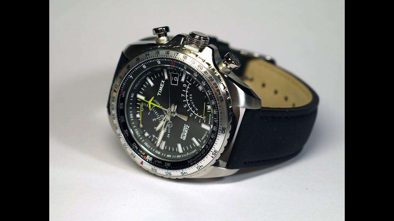 15bec9ca1 Timex T2P101 Intelligent Quartz Aviator Fly Back Watch - YouTube