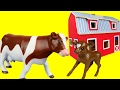 Farm Toy Animals - Calf and Cow - Toy Cow- Feeding - Eating grass
