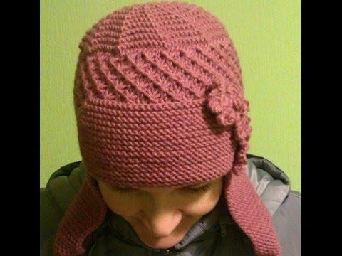Женские вязаные шапки ушанки 2018 / Women's knitted hats with .