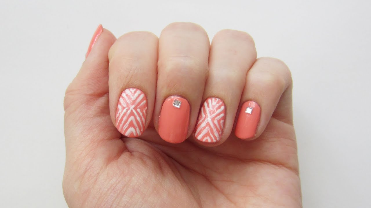 Gel Nageldesign 2015 Nageldesign Orange-weißes Geometrisches Muster | 'seni
