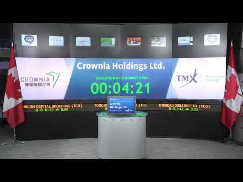 Crownia Holdings Ltd. (TSXV:CNH) opens Toronto Stock Exchange, October 20, 2015