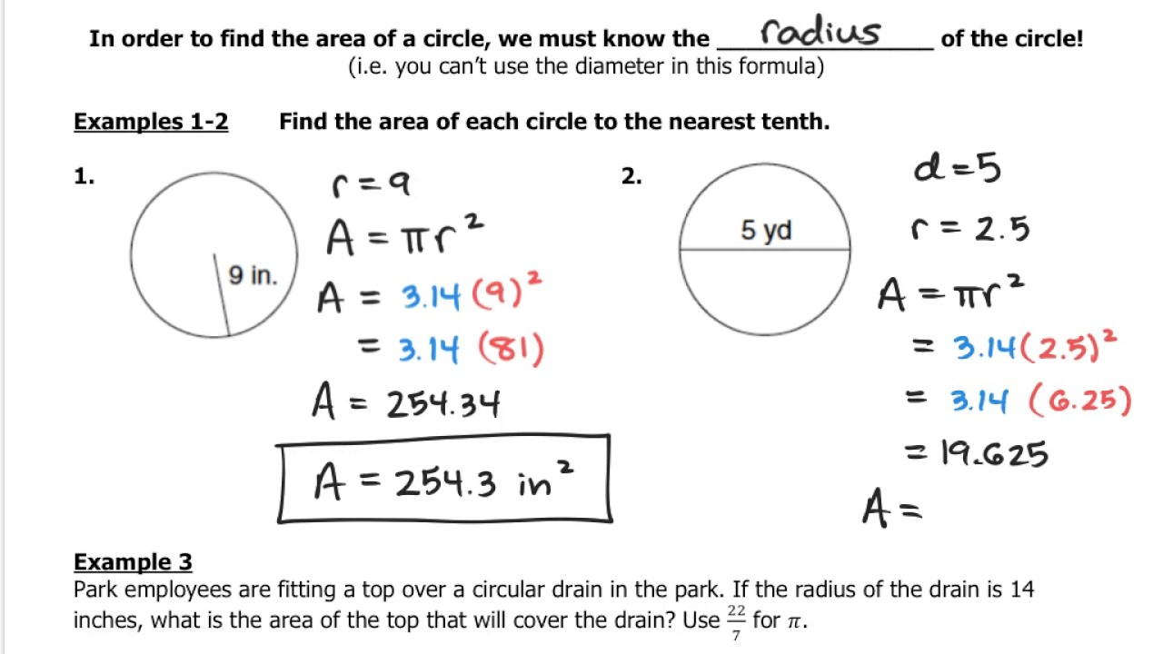 how to get diameter from area