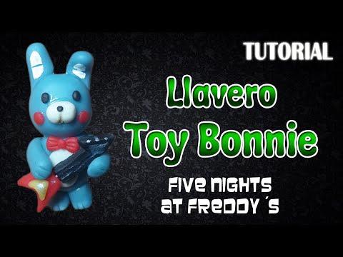 Tutorial Llavero Toy Bonnie en Porcelana Fria / FNaF / Toy Bonnie Charm Polymer Clay Tutorial