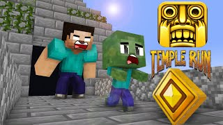 Monster School : temple run with baby monsters - minecraft animation